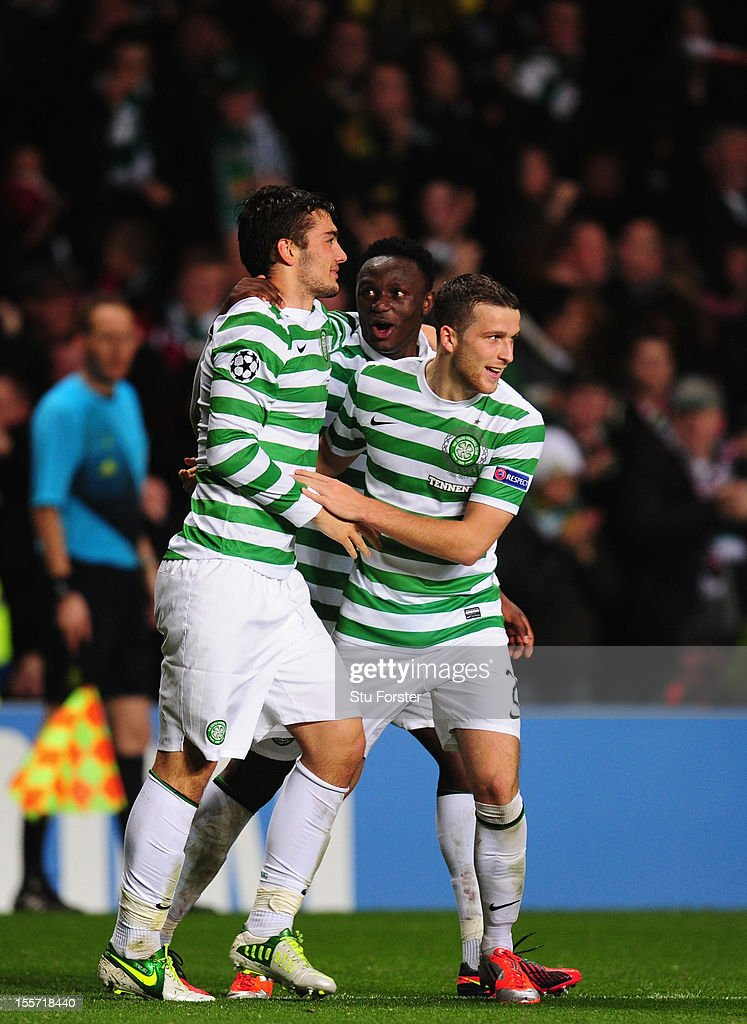 Celtic player Tony Watt (l) celebrates his goal with <a gi-track='captionPersonalityLinkClicked' href=/galleries/search?phrase=Victor+Wanyama&family=editorial&specificpeople=7126412 ng-click='$event.stopPropagation()'>Victor Wanyama</a> (c) and Adam Matthews during the UEFA Champions League Group G match between Celtic and Barcelona at Celtic Park on November 7, 2012 in Glasgow, Scotland.