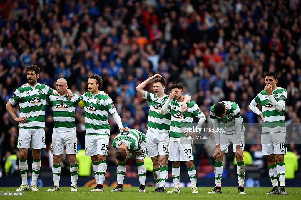 Celtic players react at the penalty shoot out during the William Hill Scottish Cup semi final between Rangers and Celtic at Hampden Park on April 17, 2016 in Glasgow, Scotland.