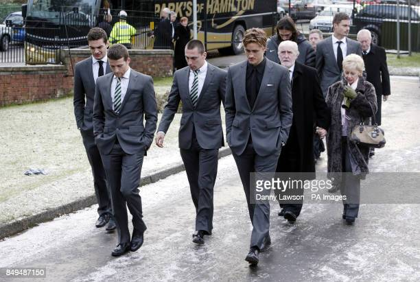 Celtic players Tony Watt Adam Matthews Scott Brown and Thomas Rogne arrive at the funeral of former Celtic assistant manager Sean Fallon at Christ...