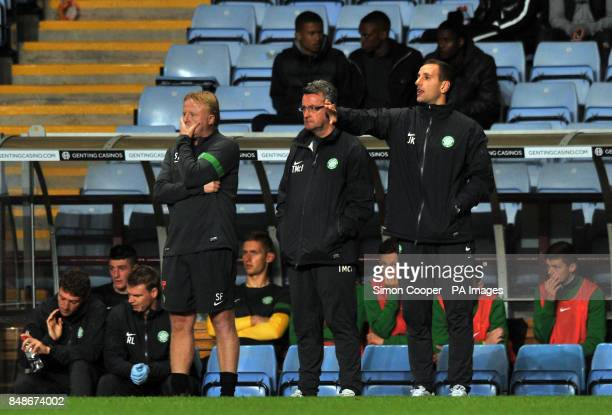 Celtic Reserve Team Coach Steve Farill Under 17/20 Professional Academy Manager Terry McIntyre and U17/U20 Coach John Kennedy
