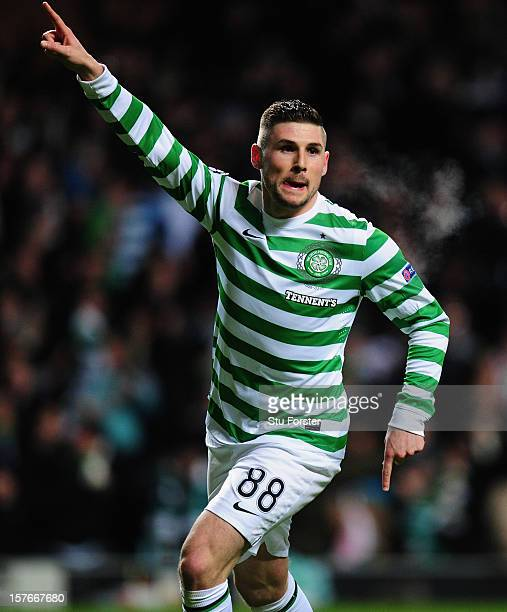 Celtic striker Gary Hooper celebrates after scoring the first goal during the UEFA Champions League Group G match between Celtic FC and FC Spartak...
