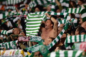 Celtic supporters during the UEFA Champions League Group H match between Celtic and AC Milan at Celtic Park Stadium on November 26 2013 in Glasgow...