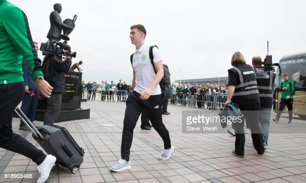 Celtic Team Bus arrives Kieran Tierney walks into Celtic Park before the UEFA Champions League Qualifying Second RoundSecond Leg match between Celtic...