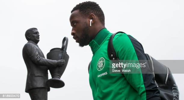 Celtic Team Bus arrives Moussa Dembele walks into Celtic Park before the UEFA Champions League Qualifying Second RoundSecond Leg match between Celtic...