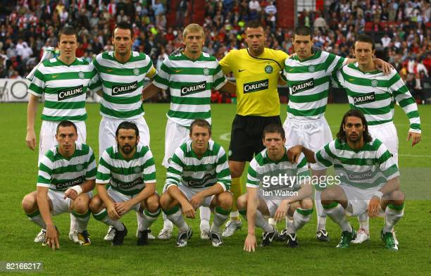 Celtic team lines up during the Port of Rotterdam Tournament match between Feyenoord and Celtic at the De Kuip Stadium on August 3 2008 in Rotterdam...