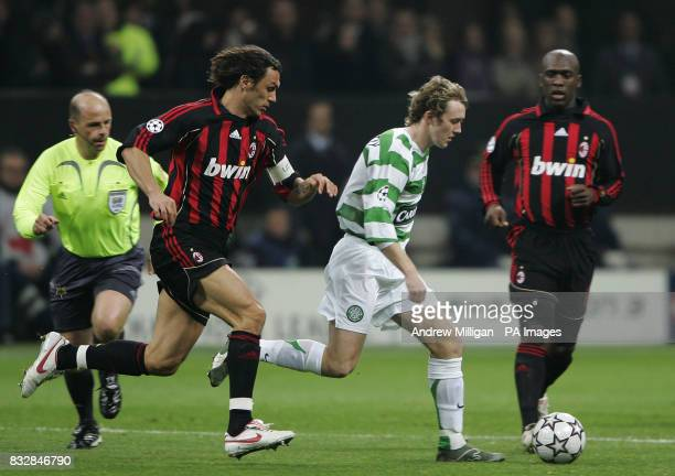 Celtics Aiden McGeady is watched by AC Milans Paolo Maldini during the Champions league match AC Milan vs Celtic at the San Siro Stadium in Milan...