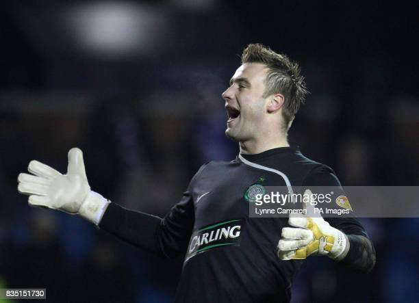 Celtic's Artur Boruc celebrates at the final whistle during the Clydesdale Bank Scottish Premier League match at the Rugby Park Kilmarnock