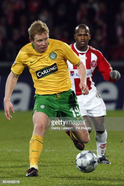 Celtic's Barry Robson in action with Aalborg's Lucas de Deus Santos Caca
