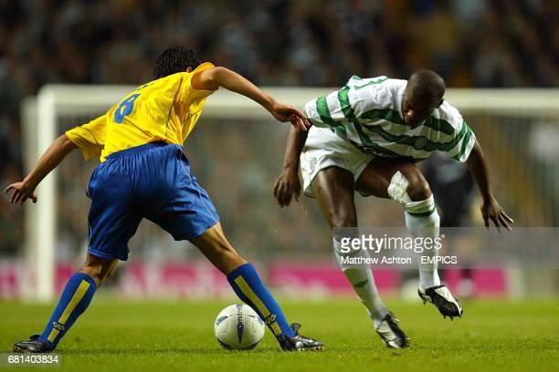 Celtic's Bobo Balde and Villarreal's Juan Riquelme
