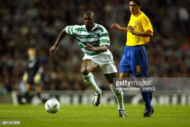 Celtic's Bobo Balde escapes the attentions of Villareal's Juan Riquelme