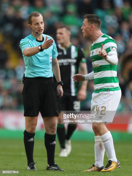 Celtic's Callum McGregor appeals for a penalty with referee William Collum during the Ladbrokes Scottish Premiership match at Celtic Park Glasgow