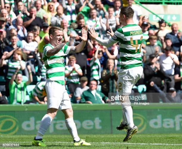 Celtic's Callum McGregor celebrates scoring his sides fourth goal of the game with teammate Jonathan Hayes during the Ladbrokes Scottish Premiership...
