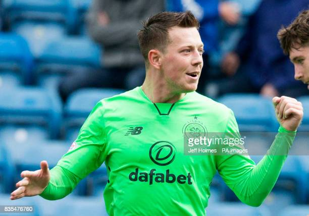Celtic's Callum McGregor celebrates scoring his side's second goal of the game during the Scottish Premiership match at Rugby Park Kilmarnock