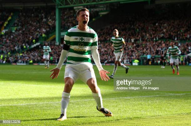 Celtic's Callum McGregor celebrates scoring his side's second goal of the game during the Ladbrokes Scottish Premiership match at Celtic Park Glasgow