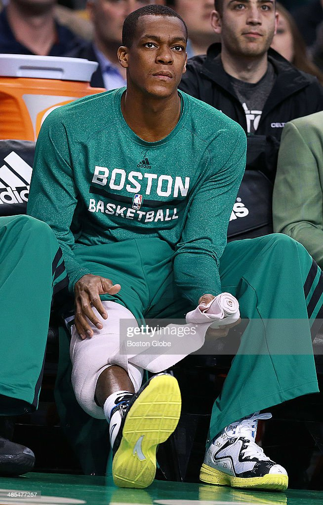 Celtics captain Rajon Rondo unwraps his knee on the bench early in the game, but could he be wrapping up his Boston career on the bench for the final time tonight? He is not expected to play, and his future will be a big story in the off season. The Boston Celtics hosted the Washington Wizards in their final NBA game of the season at the TD Garden on Wednesday, April 16, 2014.