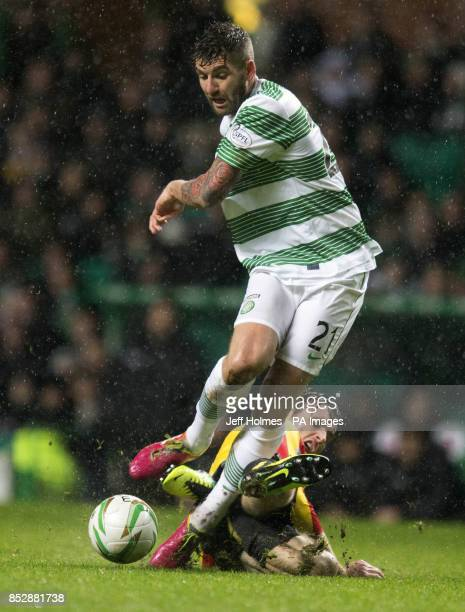 Celtic's Charlie Mulgrew Partick Thistle's Stephen O Donnell during the Scottish Premiership match at Celtic Park Glasgow
