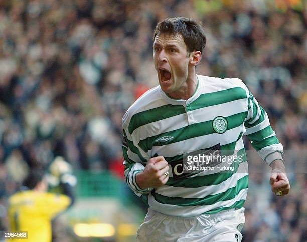 Celtic's Chris Sutton celebrates scoring a penalty during the Scottish premier league match between Celtic and Dundee Utd at Celtic Park on February...