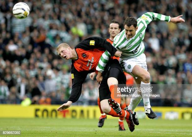 Celtic's Chris Sutton challenges Dundee United's Garry Kenneth