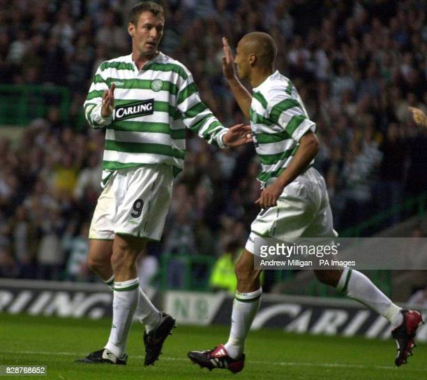 Celtic's Chris Sutton is congratulated on his goal by Henrik Larsson during their Champions League 3rd qualifying round 2nd leg match at Celtic Park...