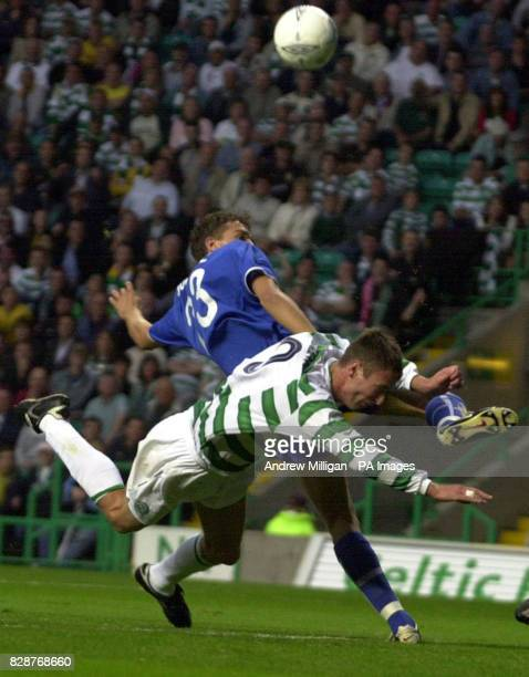 Celtic's Chris Sutton is edged of this ball by MTK Hungaria's Juhsz Roland during their Champions League 3rd qualifying round 2nd leg match at Celtic...