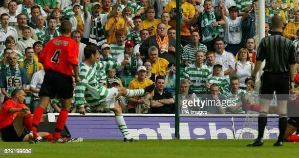 Celtic's Chris Sutton scores against Dundee United during their Bank of Scotland Scottish Premiership match at Celtic's Celtic Park stadium in...