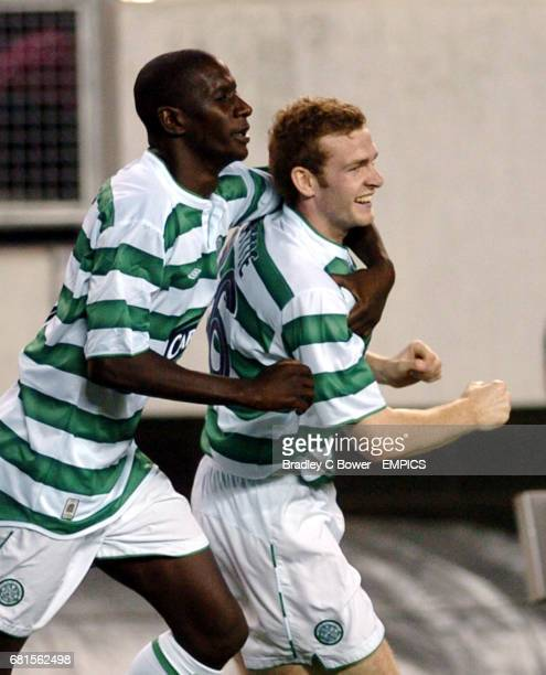 Celtic's Craig Beattie celebrates with Mohamed Sylla after his goal against Manchester United