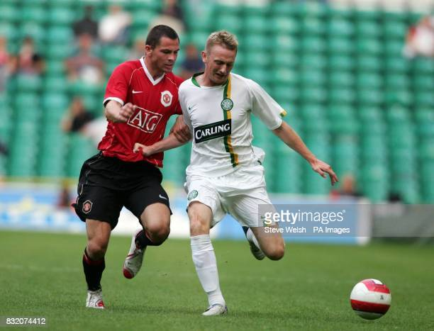 Celtic's Derek Riordan in action with Manchester United's Phil Bardsley during the friendly match at Celtic Park Glasgow