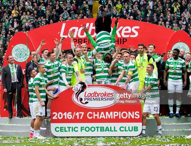 Celtic's Effe Ambrose backflips after his side lifted the Trophy at the Ladbrokes Scottish Premiership match at Celtic Park Glasgow