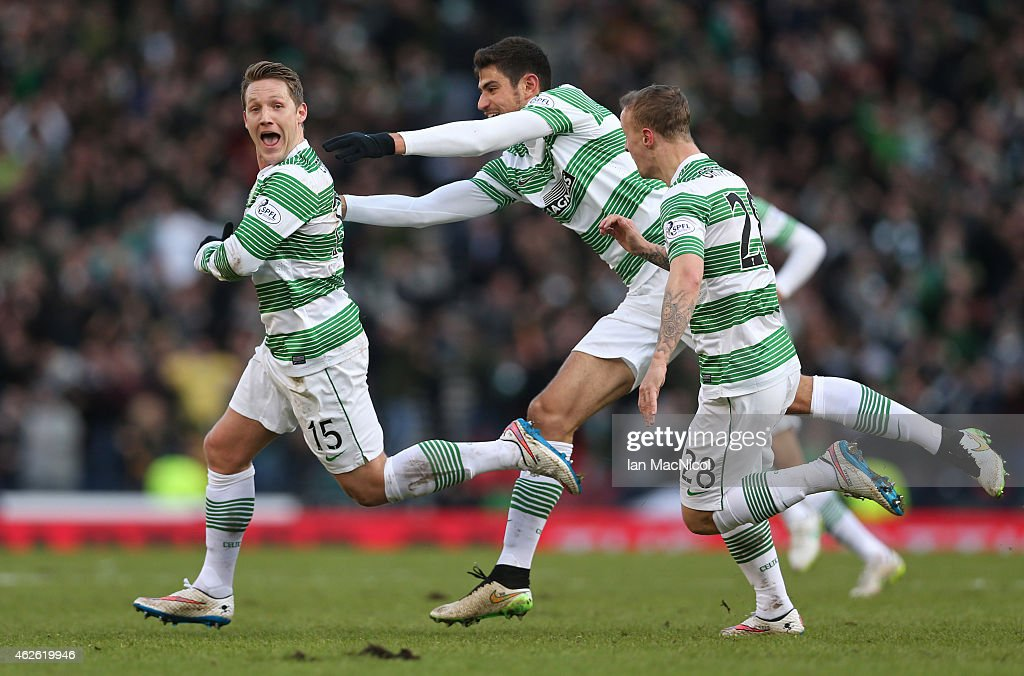 Celtic's English midfielder Kris Commons celebrates after he scores during the Scottish League Cup Semi-Final football match between Celtic and Rangers at Hampden Park on February 01, 2015 in Glasgow, Scotland.