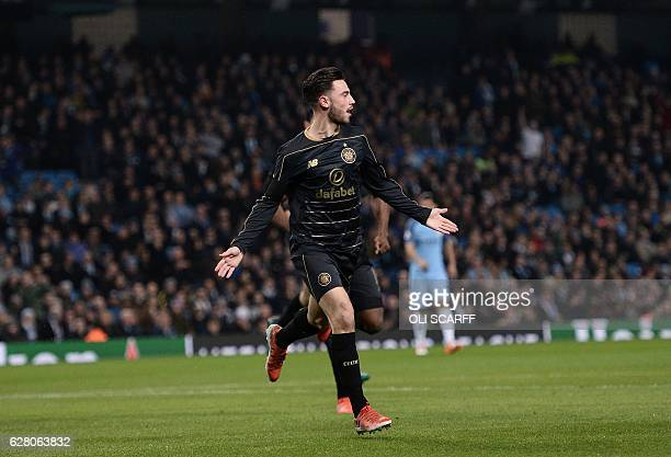 Celtic's English midfielder Patrick Roberts celebrates scoring his team's first goal during the UEFA Champions League group C football match between...