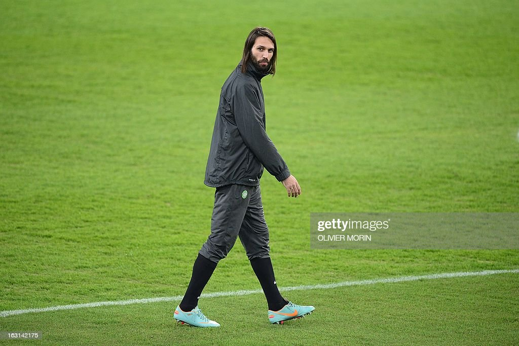 Celtic's forward Giorgios Samaras walks during a training session, on the eve of the Champions League match between Juventus and Celtic Glasgow, on March 5, 2013 in Turin.