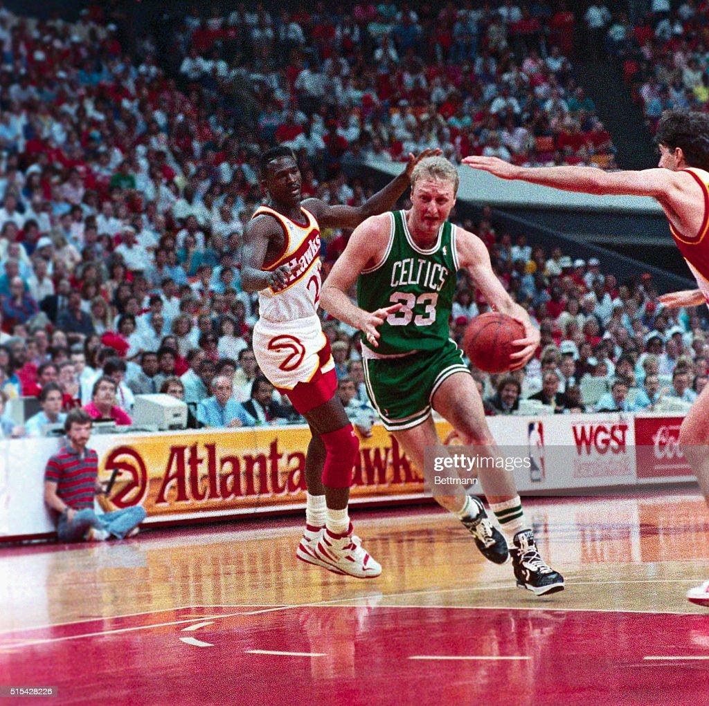 Larry Bird Taking a Shot Over the Atlanta Hawks