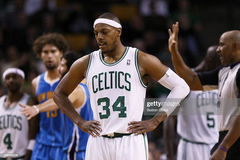 Celtics forward Paul Pierce (#34) looks dejected after a foul is called on forward Kevin Garnett (#5) in the third quarter as the Boston Celtics play the New Orleans Hornets in a regular season NBA game at TD Garden in Boston, Mass. on Wednesday, Jan. 16, 2013.