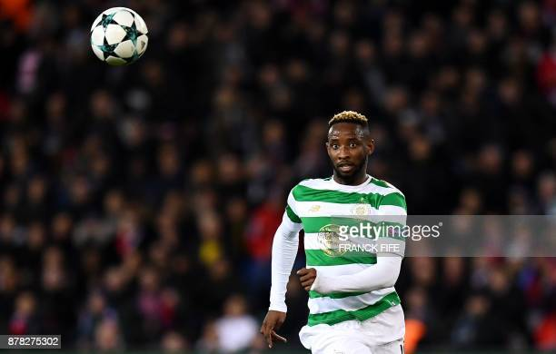 Celtic's French forward Moussa Dembele eyes the ball during the UEFA Champions League Group B football match between Paris SaintGermain and Glasgow...