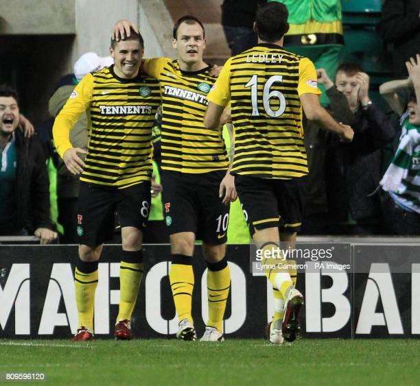 Celtic's Gary Hooper celebrates scoring his sides fourth goal with Anthony Stokes and Joe Ledley during the Scottish Communities League Cup Quarter...