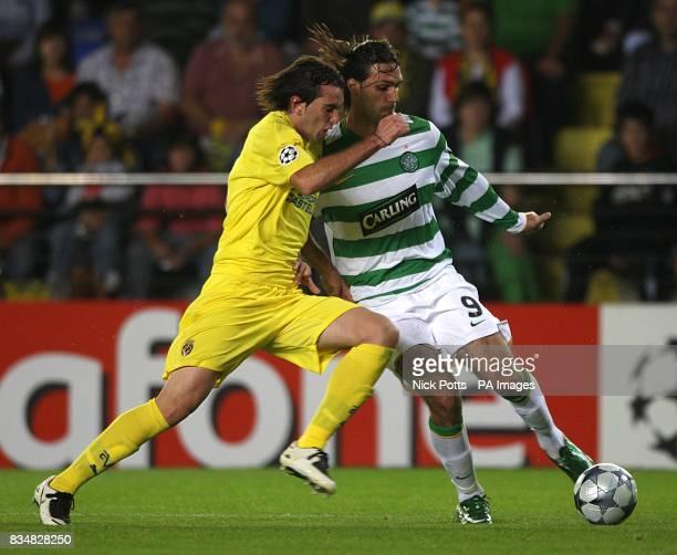 Celtic's Georgios Samaras and Villarreal's Diego Godin battle for the ball