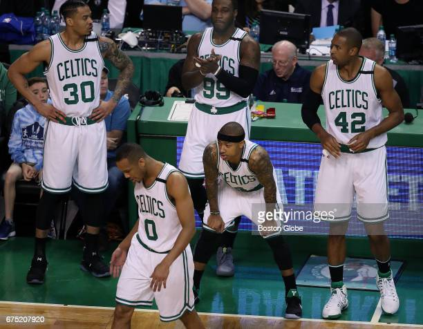 Celtics' Gerald Green Avery Bradley Jae Crowder Isaiah Thomas and Al Horford are pictured as they wait for play to resume following a timeout called...