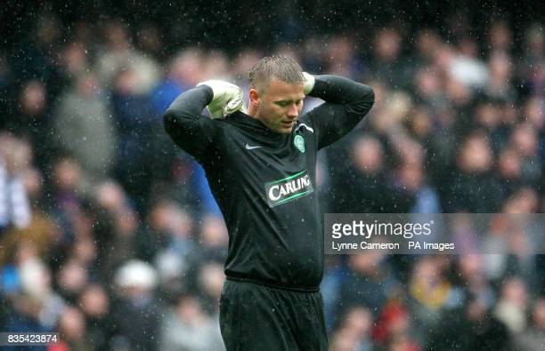 Celtic's goalkeeper Artur Boruc appears dejected during the Clydesdale Bank Scottish Premier League match at Ibrox Stadium Glasgow