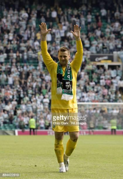 Celtic's goalkeeper Artur Boruc applauds the fans following the Clydesdale Bank Premier League match at Celtic Park Glasgow