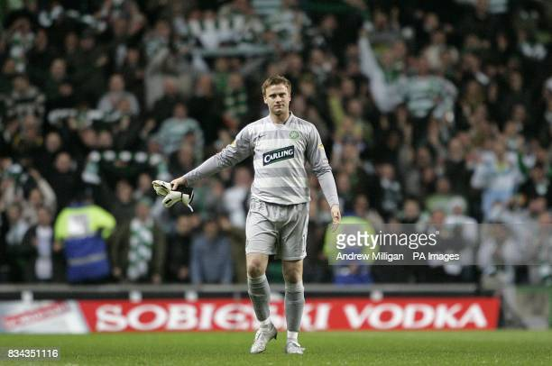 Celtic's goalkeeper Artur Boruc celebrates after the final whistle