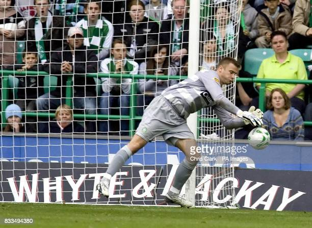 Celtic's goalkeeper Artur Boruc drops the ball allowing Hibernian's Dean Shiels to score the winning goal during the Clydesdale Bank Scottish Premier...
