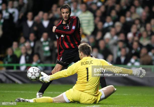Celtic's goalkeeper Artur Boruc saves a shot by AC Milan's Alberto Gilardino during the Champions League first knockout round first leg match at...