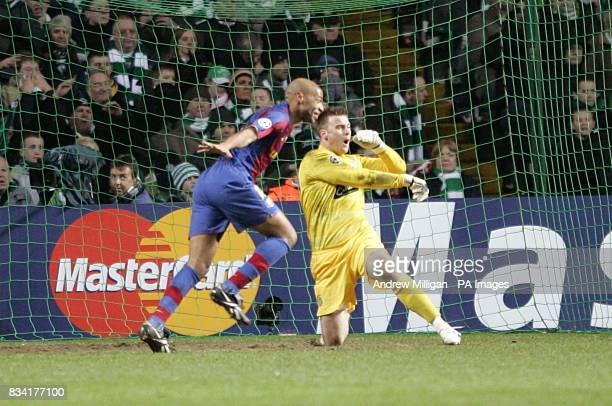 Celtic's goalkeeper Artur Boruc shows his frustration after Barcelona's Lionel Messi scores the third goal and team mate Thierry Henry celebrates