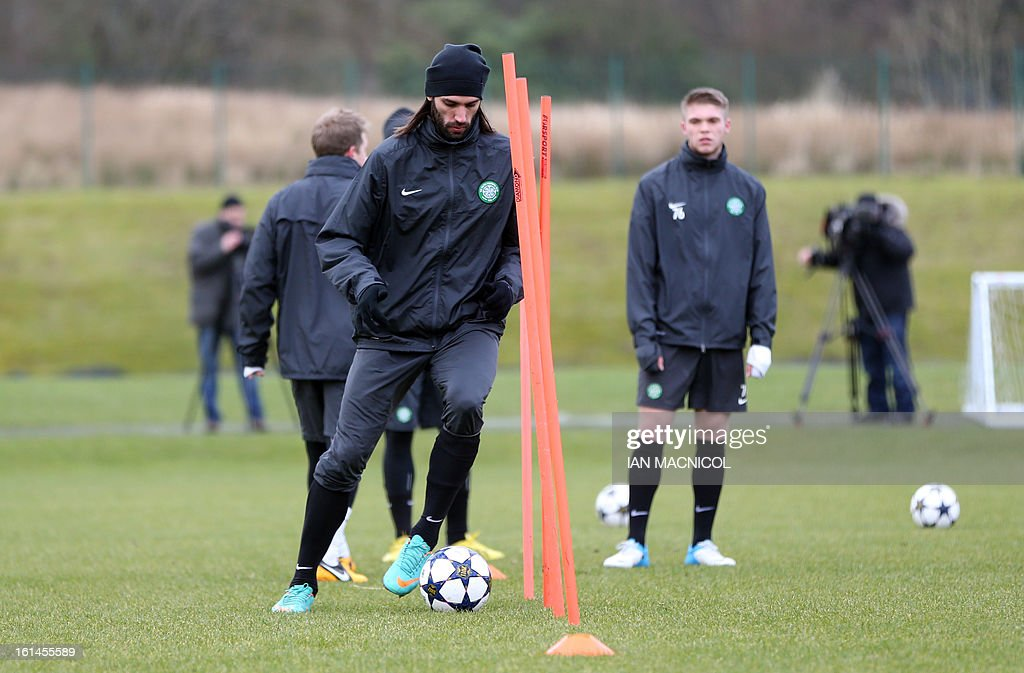 Celtic's Greek striker Georgios Samaras (C) takes part in a training session at Lennoxtown Training facility, near Glasgow, Scotland, on February 11, 2013 ahead of their UEFA Champions League last sixteen football match against Juventus on February 12.