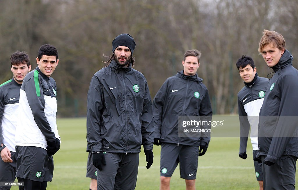 Celtic's Greek striker Georgios Samaras (C) takes part in a training session at Lennoxtown Training facility, near Glasgow, Scotland, on February 11, 2013 ahead of their UEFA Champions League last sixteen football match against Juventus on February 12. AFP PHOTO / IAN MACNICOL