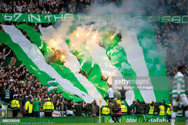 Celtic's Green Brigade let off flares during the Ladbrokes Scottish Premiership match at Celtic Park Glasgow