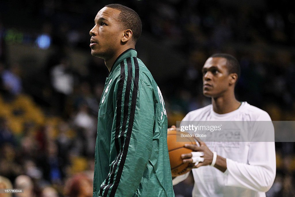 Celtics guard Avery Bradley (#0), left, was around during shoot around before the game, with guard Rajon Rondo (#9), right, as the Boston Celtics play the Minnesota Timberwolves during a regular season NBA game at the TD Garden in Boston, Mass. on Wednesday, Dec. 5, 2012.