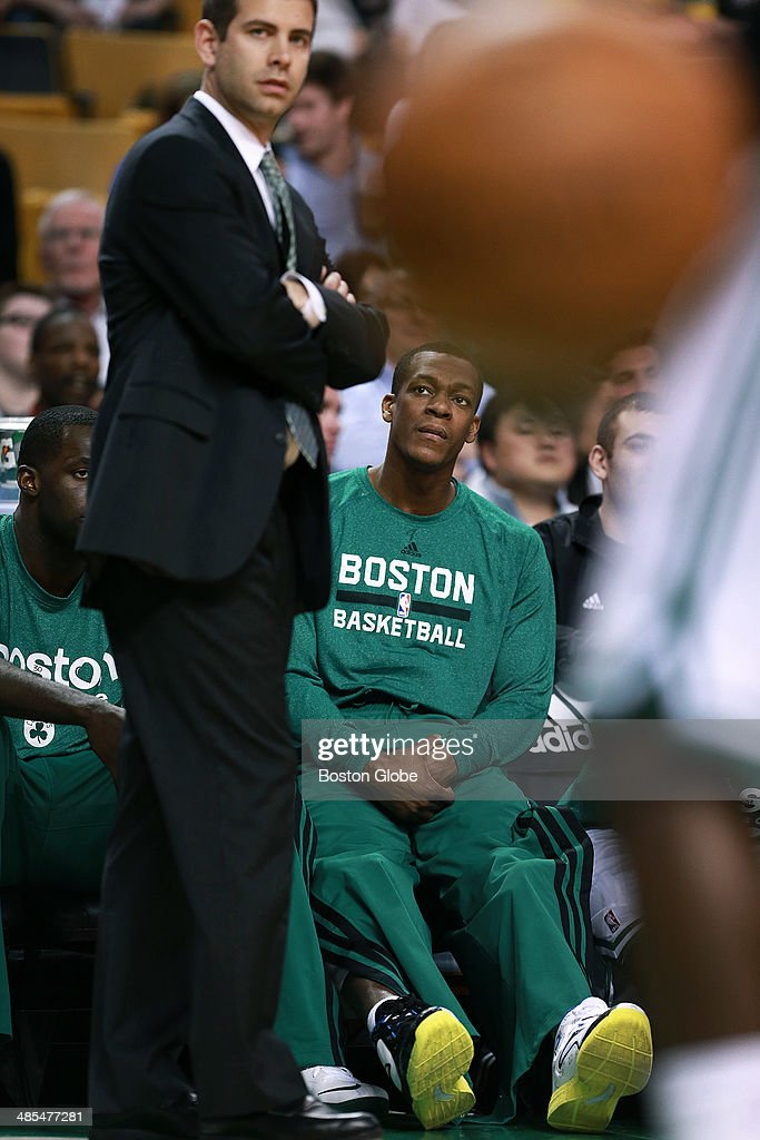 Celtics Head Coach Brad Stevens and captain Rajon Rondo are pictured during the final quarter of the season. The Boston Celtics hosted the Washington Wizards in their final NBA game of the season at the TD Garden on Wednesday, April 16, 2014.