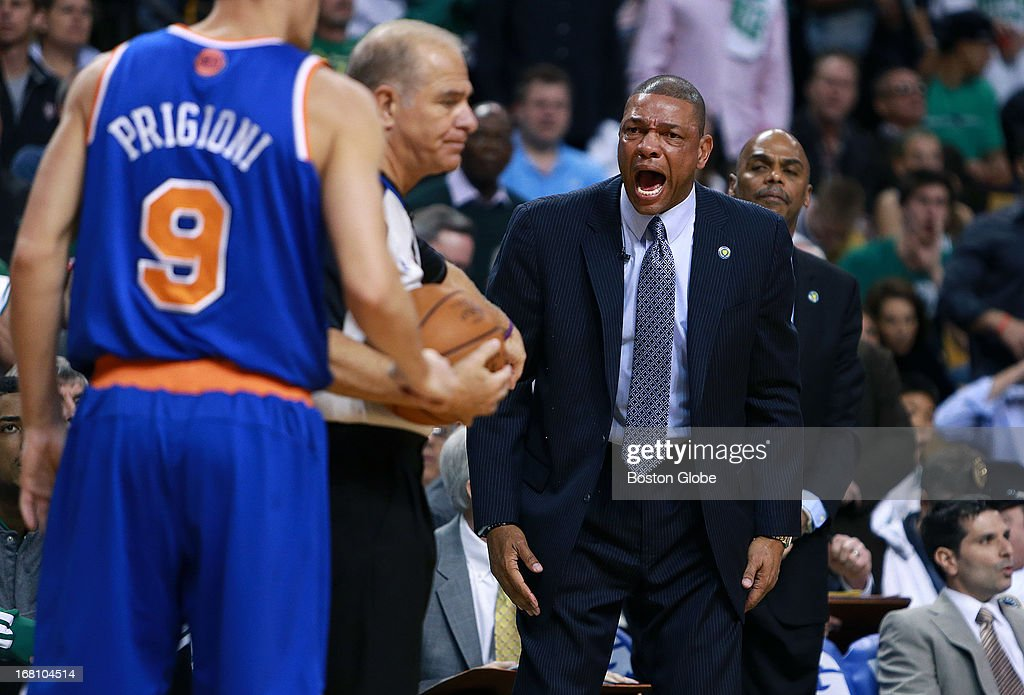 Celtics head coach Doc Rivers howls at an official after a second quarter offensive foul call on Kevin Garnett, not pictured. The Boston Celtics hosted the New York Knicks for Game Six of the NBA Eastern Conference Quarterfinals at the TD Garden.