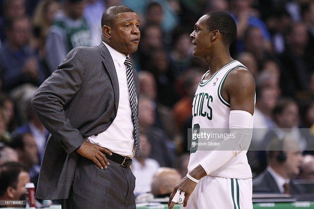 Celtics head coach Doc Rivers talks to guard Rajon Rondo (#9) in the fourth quarter as the Boston Celtics play the Minnesota Timberwolves during a regular season NBA game at the TD Garden in Boston, Mass. on Wednesday, Dec. 5, 2012.